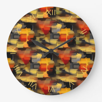 Modern Abstract Calico Paint Squares Wall Clock