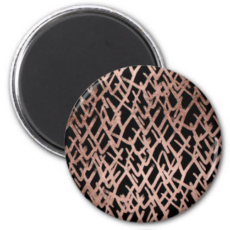 Modern abstract chevron faux rose gold pattern 2 inch round magnet