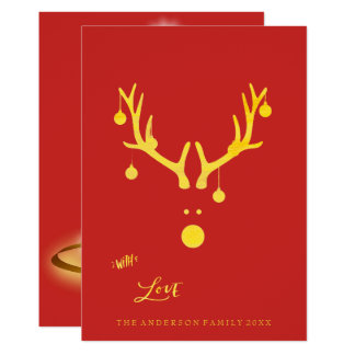 Modern abstract Christmas card reindeer gold red