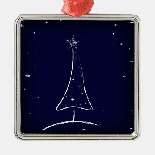 Modern Abstract Christmas Tree Square Metal Christmas