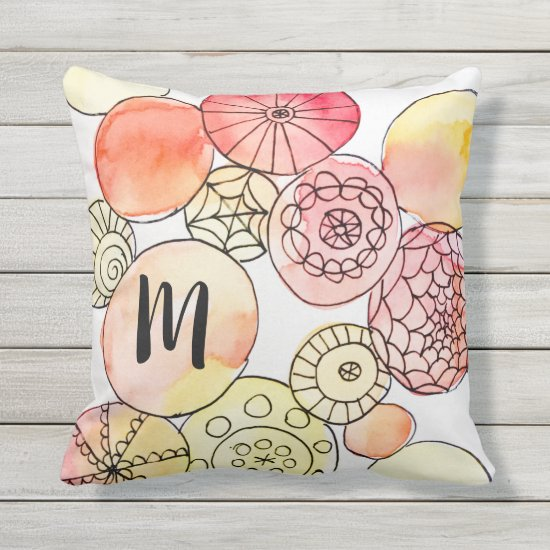Modern Abstract Circles Orange Red Artsy Monogram Outdoor Pillow