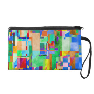 Modern Abstract - City By The River Wristlet