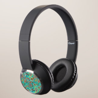 Modern Abstract Colorful Paisley Pattern Headphones