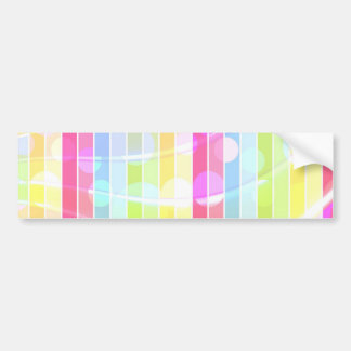 Modern abstract colorful stripes polka dots bumper sticker