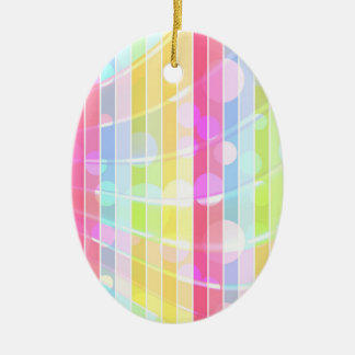 Modern abstract colorful stripes polka dots ceramic ornament