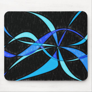 Modern Abstract Cool Blue Fish Pencil Drawing Mouse Pad