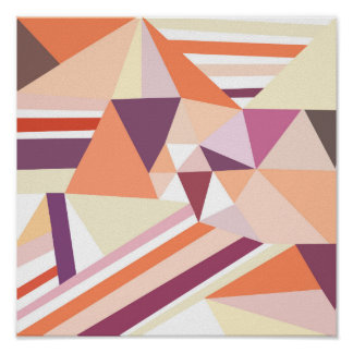 Modern abstract coral pink geometrical pattern poster