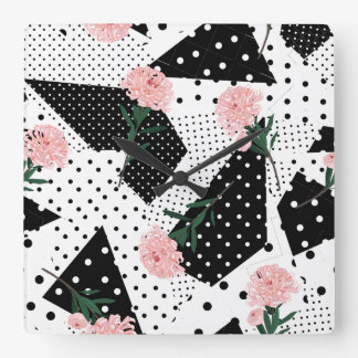 Modern Abstract  Dots and Pink Flowers Square Wall Clock