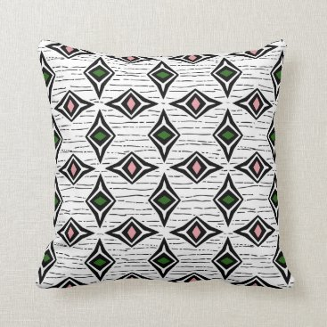 Aztec Themed Modern abstract emerald pink diamond gemstones throw pillow