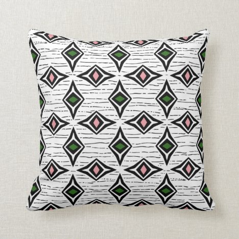 Modern abstract emerald pink diamond gemstones throw pillow