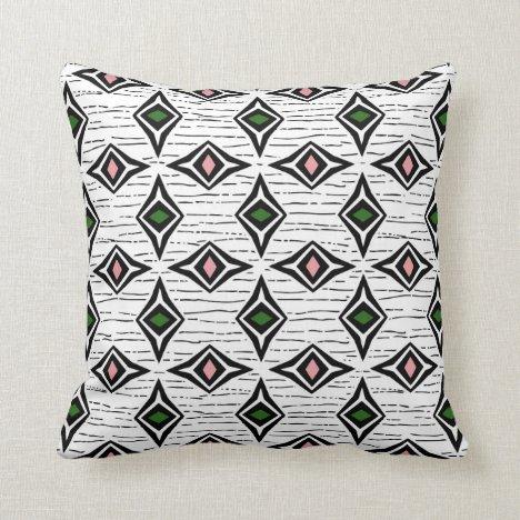 Modern abstract emerald pink diamond gemstones throw pillow