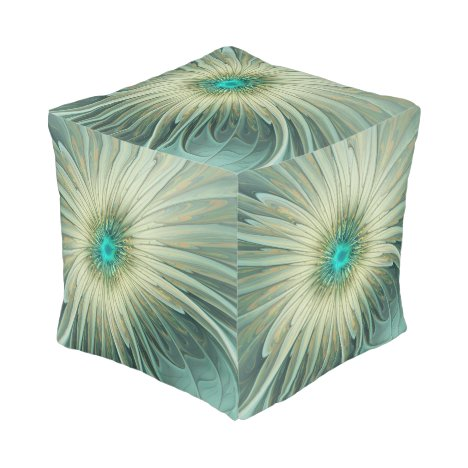 Modern Abstract Fantasy Flower Fractal Art Pouf