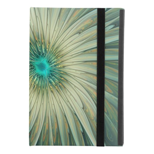 Modern Abstract Fantasy Flower Turquoise Wheat iPad Mini 4 Case