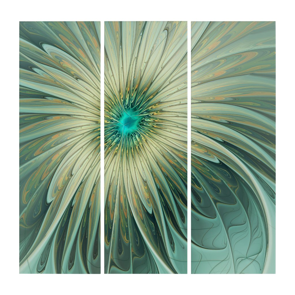 Modern Abstract Fantasy Flower Turquoise Wheat Triptych (3) 36