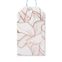 Modern abstract faux rose gold floral pattern gift tags