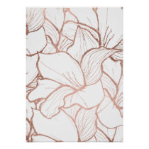 Modern abstract faux rose gold floral pattern poster