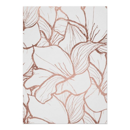 modern abstract faux rose gold floral pattern poster zazzle com