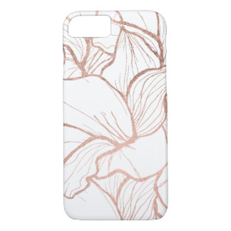 Modern abstract faux rose gold flowers pattern iPhone 7 case