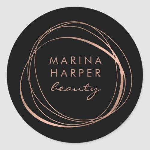 Modern Abstract Faux Rose Gold Logo Classic Round Sticker