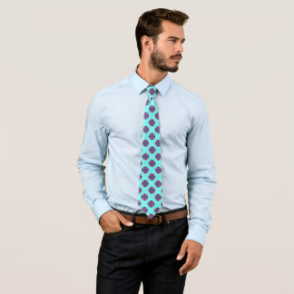 Modern Abstract Floral on Blue Silk Tie