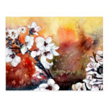 modern abstract flower asian oriental art painting post card