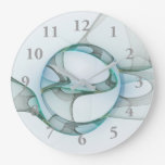 Modern Abstract Fractal Art Blue Turquoise Gray Large Clock