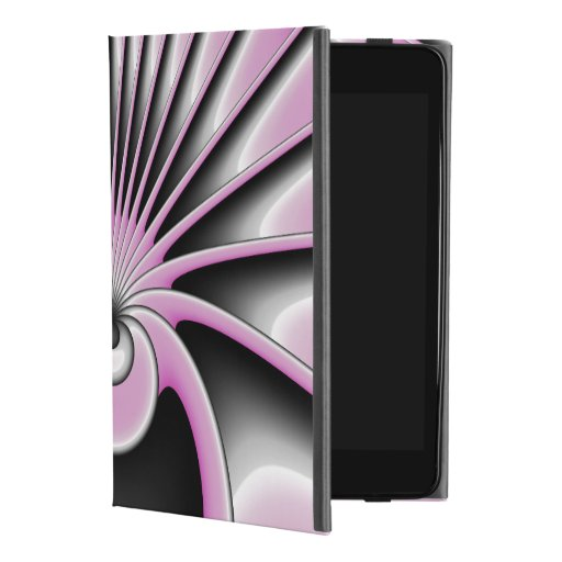 Modern Abstract Fractal Art Pink Gray Black Figure iPad Mini 4 Case