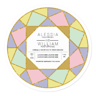 Modern abstract geometric diamond jewel wedding card