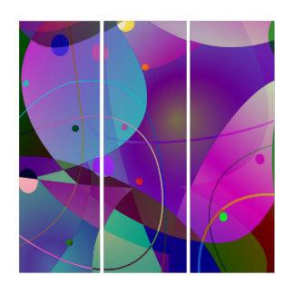 Modern Abstract Geometric Digital Art Triptych