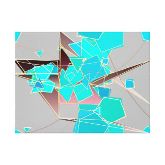 Modern Abstract - Geometric, Grey and Turquoise Canvas Print