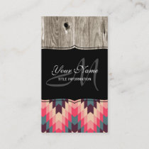 Modern Abstract Geometric Pattern on Wood Business Card