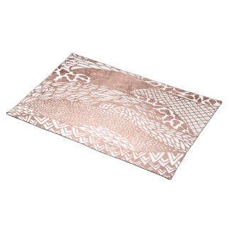 Modern abstract geometric rose gold pattern placemat
