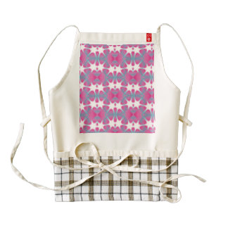 Modern abstract geometrical pink teal star patter zazzle HEART apron