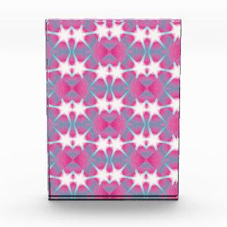 Modern abstract geometrical pink teal star pattern acrylic award
