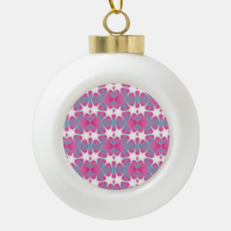 Modern abstract geometrical pink teal star pattern ceramic ball christmas ornament