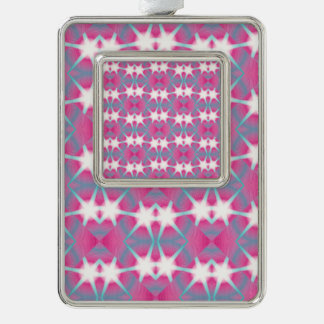 Modern abstract geometrical pink teal star pattern christmas ornament