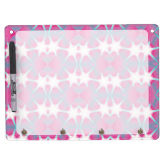 Modern abstract geometrical pink teal star pattern dry erase board with keychain holder