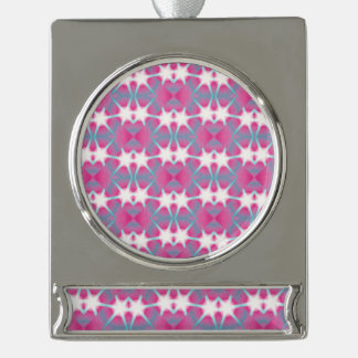 Modern abstract geometrical pink teal star pattern silver plated banner ornament