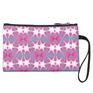 Modern abstract geometrical pink teal star pattern suede wristlet wallet