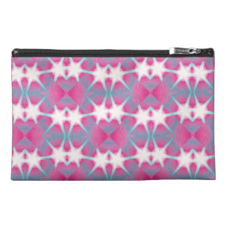 Modern abstract geometrical pink teal star pattern travel accessory bag