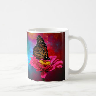 modern abstract gerber daisy butterfly classic white coffee mug