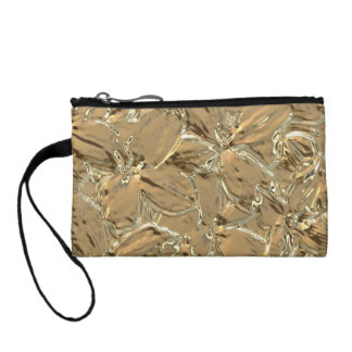 Modern Abstract Gold Metal Flower Design Change Purses
