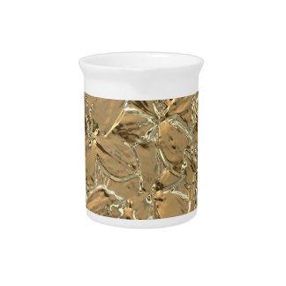 Modern Abstract Gold Metal Flower Design Drink Pitcher