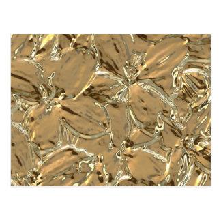 Modern Abstract Gold Metal Flower Design Postcard