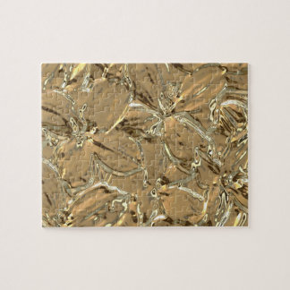 Modern Abstract Gold Metal Flower Design Puzzle