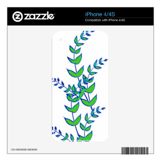 Modern Abstract Green  Tree Branch iPhone 4S Skin