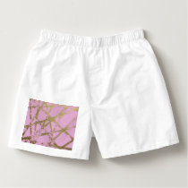 Modern,abstract,hand painted, gold lines, pink,dec boxers