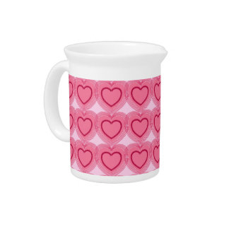Modern Abstract Hearts - Azalea Pink Beverage Pitcher