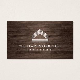 Renovation business cards templates zazzle modern abstract home logo on dark woodgrain business card colourmoves