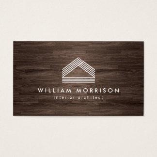 Modern Abstract Home Logo on Dark Woodgrain Business Card